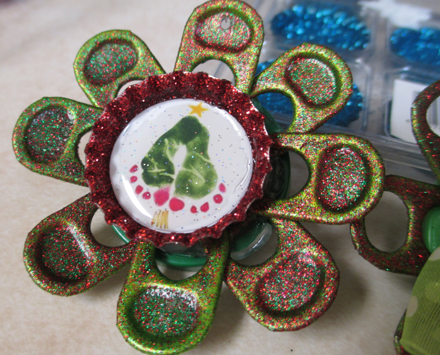 Christmas Tree Baby Footprint Soda Tab Flower Necklace - Sparkle By Monica