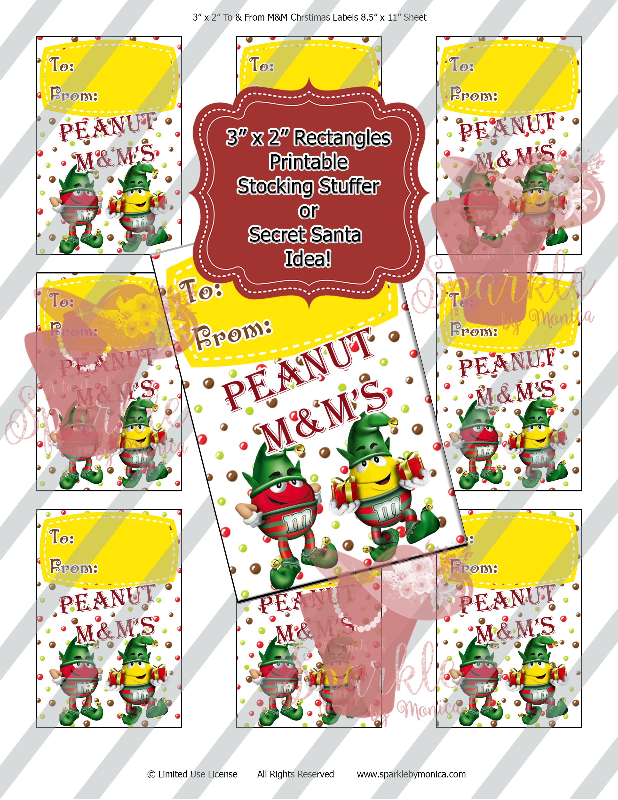 Christmas Peanut M&M Elves Digital Gift Tags: Instant Download - Sparkle By Monica